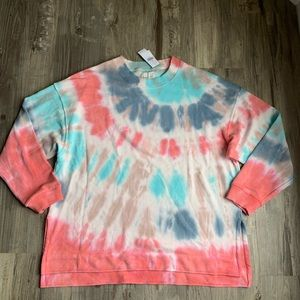 American Eagle Tie Dye Summer Fleece Sweatshirt M